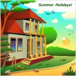 Small cottage on the nature of summer. — Stock Vector