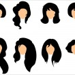 Black hair styling for woman — Stockvectorbeeld