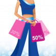 Beautiful woman with shopping. — Stock Vector