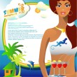 Summer card with sexy girl — Imagen vectorial