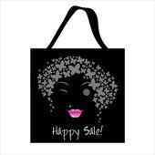 Shopping butterfly woman bag design — ストックベクタ