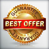 Best offer guarantee golden label — Stock Vector