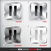 Metal duraklat düğmesi — Stok Vektör