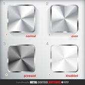 Square Metal Button — Stock Vector