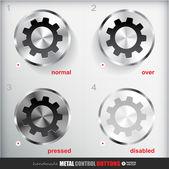 Metal Settings Button — Stock Vector