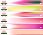 Lotus blossom Banner Set — Stock Vector