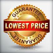 Lowest price guarantee golden label — Stock Vector
