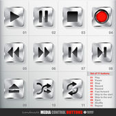 Square Media Button set — Stock Vector