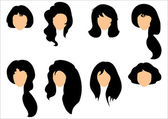 Black hair styling for woman — Stock vektor