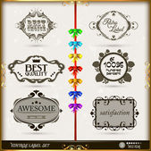 Set of calligraphic and floral design elements — Stock Vector