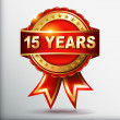 15 years anniversary golden label with ribbon. Vector illustration. — Stockvektor