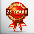 25 years anniversary golden label with ribbon — Stock Vector