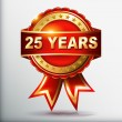 25 years anniversary golden label with ribbon — Imagens vectoriais em stock