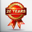 20 years anniversary golden label with ribbon. Vector illustration. — Vecteur