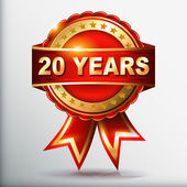 20 years anniversary golden label with ribbon. Vector illustration. — Stock Vector