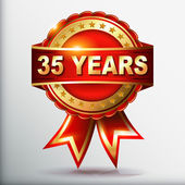 35 years anniversary golden label with ribbon — Stockvector