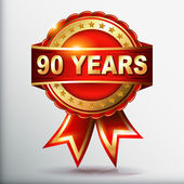 90 years anniversary golden label with ribbon — Vecteur