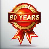 90 年周年金色标签用丝带 — 图库矢量图片
