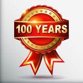 étiquette anniversaire or 100 ans avec ruban — Vecteur