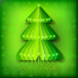 Green origami Christmas tree greeting card — Imagen vectorial
