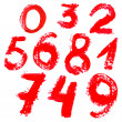 Red handwritten numbers on white background — Grafika wektorowa