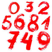 Red handwritten numbers on white background — Stock Vector