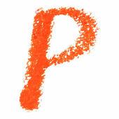 P - Orange handwritten letters on white background. — Stock Vector
