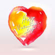 Watercolor painted heart for Valentine's Day card or background. — Stock Vector #37868805