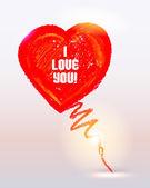 Panda olie pastel kleuren geschilderd hart voor valentijnsdag kaart of achtergrond. — Stockvector