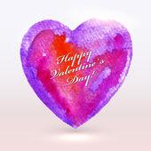 Akvarell målade hjärta för alla hjärtans dagskort eller bakgrund. — Stockvektor