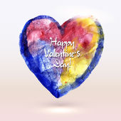 Watercolor painted heart for Valentine's Day card or background. — Stock Vector
