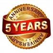 5 years anniversary golden label with ribbon. — Stock Vector