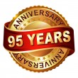 95 years anniversary golden label with ribbon. — Vector de stock