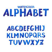 Handwritten watercolor alphabet. — Stock Vector