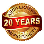 20 years anniversary golden label with ribbon. — Vector de stock