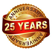 25 years anniversary golden label with ribbon. — Stock Vector