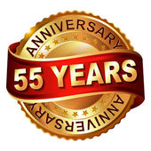 55 years anniversary golden label with ribbon. — Stock Vector