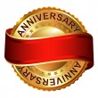 Anniversary empty golden label with ribbon — Stock Vector