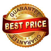 Best price guarantee golden label with ribbon — Stok Vektör