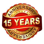15 years anniversary golden label with ribbon — Vector de stock