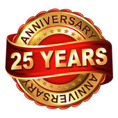 25 years anniversary golden label with ribbon — Stockvector