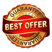 Najlepsza oferta gwarancji złoty etykiety z taśmy — Wektor stockowy