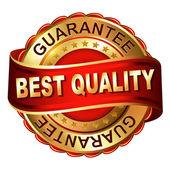 Kwaliteit garanderen gouden label met lint — Stockvector