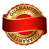 Guarantee empty gold label with ribbon — Stock Vector