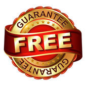 Free guarantee golden label with ribbon — Stock vektor