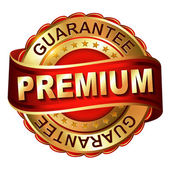 Premium guarantee golden label with ribbon — Stok Vektör