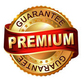 Premium guarantee golden label with ribbon — Stock vektor