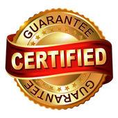 Certified guarantee golden label with ribbon — Vector de stock