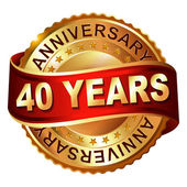 40 years anniversary golden label with ribbon — Vector de stock