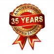 35 years anniversary label with ribbon. — Stock Vector
